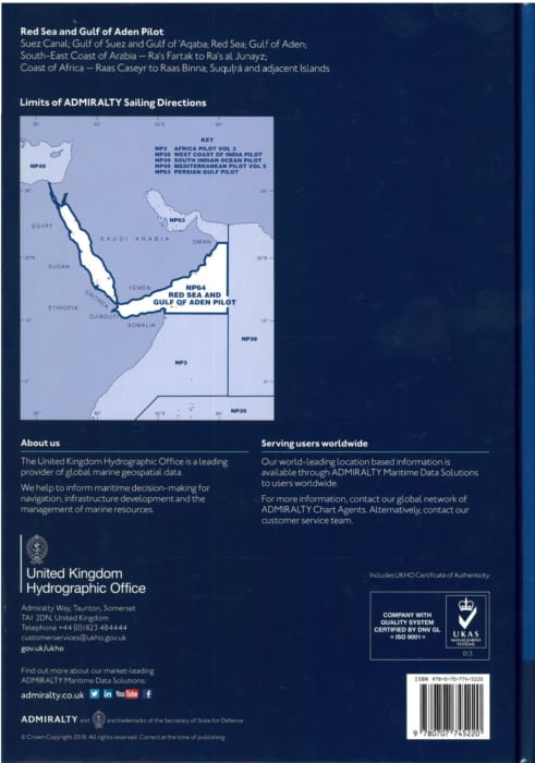 NP64 - Red Sea & Gulf of Aden Pilot  19th ed  2018